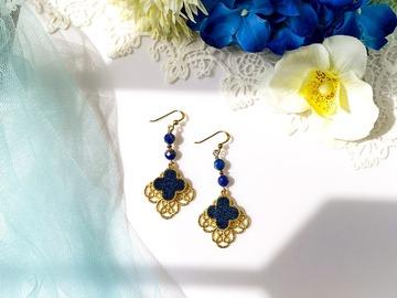 : Gold Filigree Clover Lapis Lazuli Drop Earring
