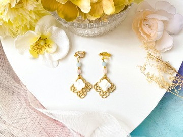: Gold Filigree Clover Pearl Drop Earrings