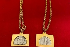 """Buy Now: 10 pcs--  Vintage sterling silver  dime  on 18"""" rope chain- $4.99"""