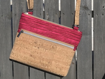 Selling with online payment: Shades of Pink and Cork Crossbody Purse