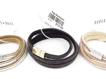 Liquidation/Wholesale Lot: Dozen Robert Rose Triple Wrap Suede Leather Bracelets