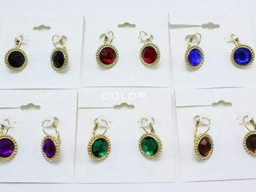 Liquidation/Wholesale Lot: Dozen New Assorted Colorful Stone Earrings From kohls