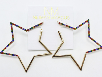 Liquidation/Wholesale Lot: Dozen Neiman Marcus Star & Heart Gold Earrings $360 Value