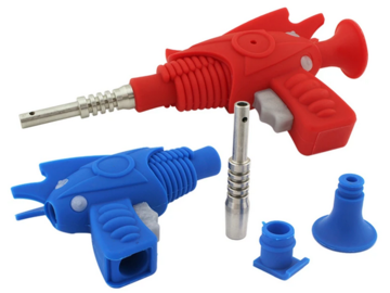 "Post Now: 8"" Ray Gun Silicone Nectar Collector Rig Blue Red"
