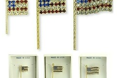 Buy Now: 12 pcs-- American Flag Pins-- Swarovski Rhinestones- $3.00 each