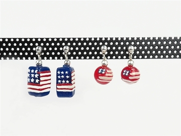 Liquidation/Wholesale Lot: 20 pairs - Americana Flag Earrings- $2.50 pair-- 2 styles carded