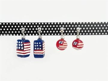 Buy Now: 20 pairs - Americana Flag Earrings- $2.50 pair-- 2 styles carded