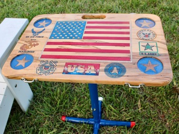 Selling with online payment: Solar Charging Beach Table - American Flag - Armed Forces