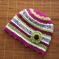 Selling with online payment: Woman's Winter Crocheted BoHo Hat with Flower