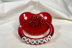 "Selling with online payment: Red ""Naughty"" Pacifier"