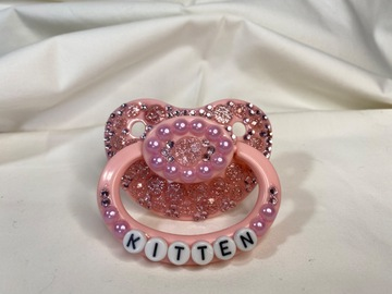 "Selling with online payment: Pink ""Kitten"" Pacifier"
