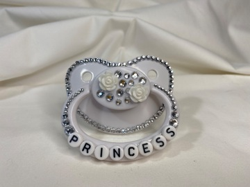 "Selling with online payment: White ""Princess"" Pacifier"