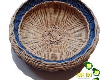 Selling: Southeastern Double Wall Basket (Tan w/ Blue Trim)