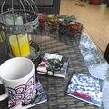 : Ceramic coasters - set of 4 with metallic holder