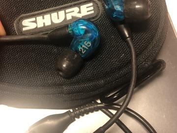 Myydään: earphone_shure se215