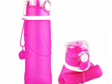 Compra Ahora: CALIBREWARE – 26 Oz. Collapsible  Silicone Water Bottle- PINK