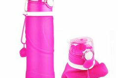 Buy Now: CALIBREWARE – 26 Oz. Collapsible  Silicone Water Bottle- PINK