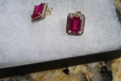 Buy Now:  4.3 synthetic ruby, 1/4 CT diamond real solid 10 kt gld earrings