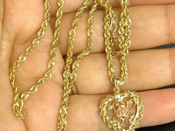 "Women: (SOLD)Michael Anthony 14k Heart necklace 22"" solid Gold Chain 10g"