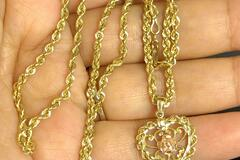 """Women: (SOLD)Michael Anthony 14k Heart necklace 22"""" solid Gold Chain 10g"""