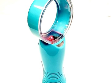 Compra Ahora: Battery Operated Mini Portable Bladeless Fan W/7 Color -Blue