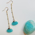 Selling: Gold Chain Drop Earrings with Amazonite - Gold Plated Ear Wire