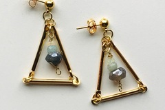 Selling: Geometric Studs with Genuine Opal and Labradorite