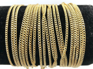 Compra Ahora: 50 Pcs Curb Chain Bracelets 14 kt Gold Plated - 7 1/4 inch