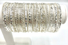 Buy Now: 100 Bangle Bracelets with Display - Sterling Silver Overlay