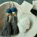 : Volcanic rock and Grey Tassel Earring