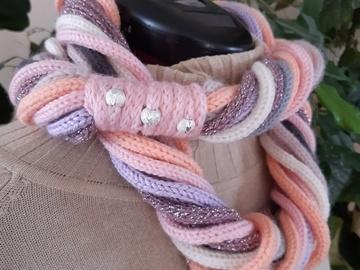 Vente au détail: Bandeau tour de cou rose gris