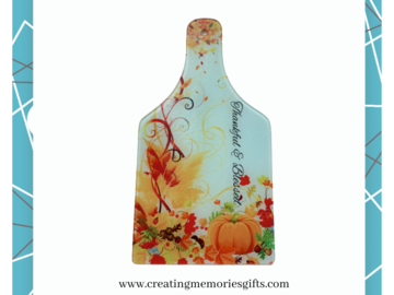 """Selling with online payment: Fall """"Thankful & Blessed""""  Wine Bottle Cutting Board"""