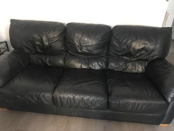 Vente: Canapé trois places en cuir noir