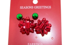 Buy Now: 24 Pairs of Christmas Earrings. 12 Red bow and 12 Green studs