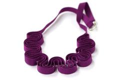 : Purple grosgrain ribbon necklace