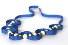 : Blue ribbon necklace