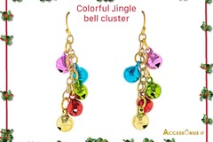 Buy Now: 12 Pairs of Colorful Jingle bells Christmas earrings.