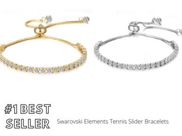 Liquidation/Wholesale Lot: 30 pieces Swarovski Elements Tennis Slider Bracelets