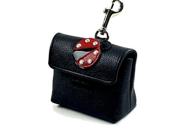 Selling: Leather Ladybug Poop Bag Dispenser