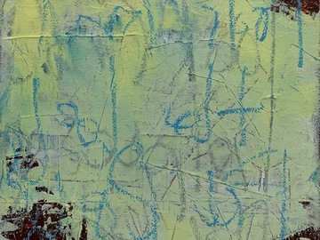 Selling with online payment: Modern Graffiti: butter yellow abstract, original