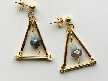 Selling: Gold Stud Earrings with Genuine Opal and Labradorite Beads