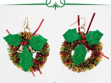 Buy Now: 12 Pairs of handmade Wreath Christmas earrings.