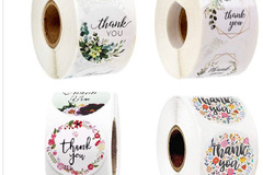 Liquidation/Wholesale Lot: 4,000  1.5 Inch Thank You Stickers (8 Rolls)