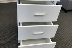 For Sale: SOLID PINE BED SIDE TABLE WHITE -- 3 DRAWERS