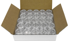 Liquidation/Wholesale Lot: 200 Round Clear jars with Screw Caps 5G/5ML (BPA Free)