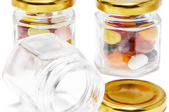 Liquidation/Wholesale Lot: 36 Pack Mini 1.5oz Jars with Gold Lids