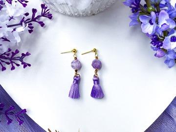 : Lilac Amethyst Tassel Earrings