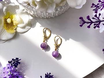 : Zircon Papillon Amethyst Dangle Earrings