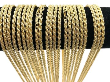 Liquidation/Wholesale Lot: 50 Pcs Rope Chains 14 kt Gold Plated - 24 inch USA