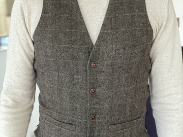 Selling with online payment: English inspired Brown Windowpane Waist Coat (Size M)